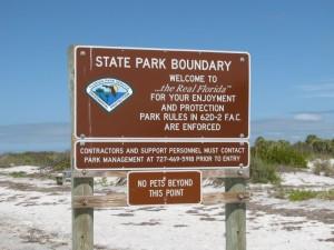 Caladesi Island park sign