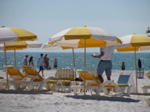 Beach umbrellas on Clearwater Beach