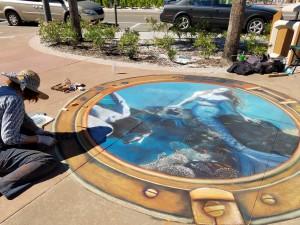 Mermaids sidewalk chalk art