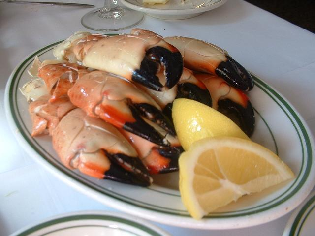 Stone crab claws on plate