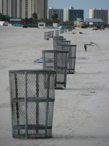 Trash cans on Clearwater Beach