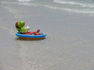 Floating toy on beach
