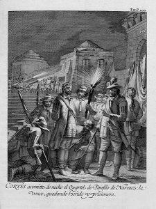 Historia_de_la_conquista_de_México_(1783)_-Cortes_acomete_de_noche_el_Quartel_de_Panfilo_de_Narvaez-_le_vence,_quedando_herido_y_prisionero