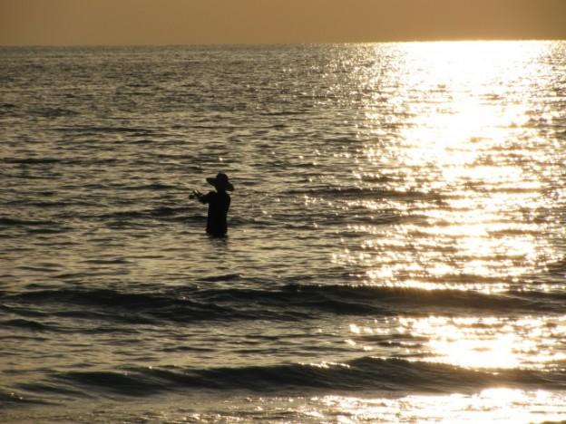 Honeymoon Island fisherman at sunset