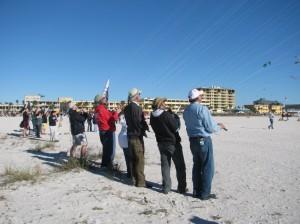 Group kite flying at Treasure Island Kite Festival