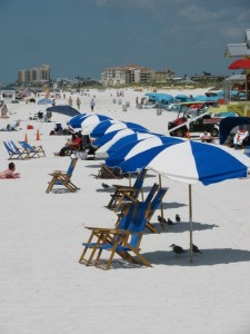Clearwater Beach umbrellas
