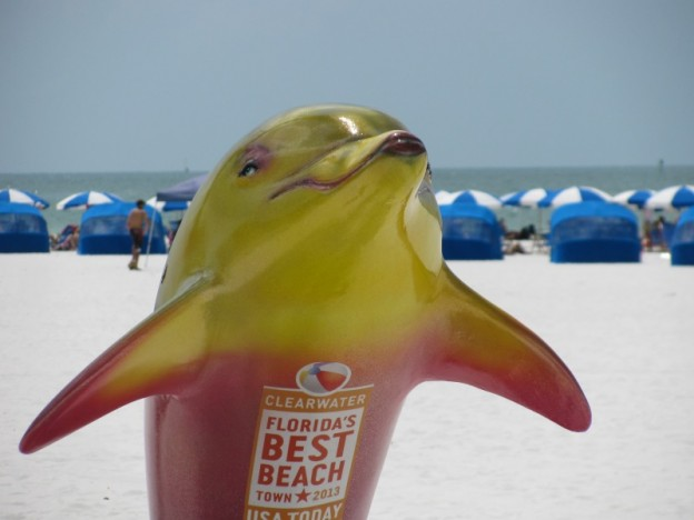 Clearwater Beach dolphin sculpture