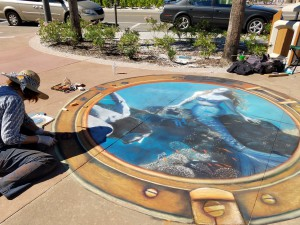 Mermaids sidewalk chalk art
